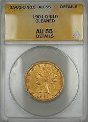 1901 O $10 Liberty  ANACS Details Cleaned (Planchet Flaw)