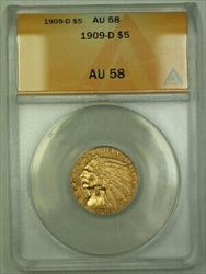 1909 D Indian  Half Eagle $5  ANACS RJS