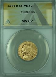 1909 D Indian Half Eagle $5   ANACS