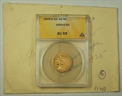1909 D Indian Head  Half Eagle $5  ANACS JMX
