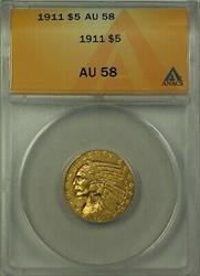 1911 Indian Head Half Eagle $5   ANACS