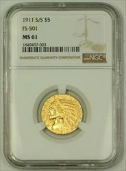 1911 S/S US $5 Indian Head Half Eagle   FS 501 NGC (Better) GBr