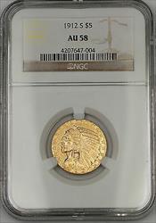 1912 S Five  $5 Indian Half Eagle   NGC