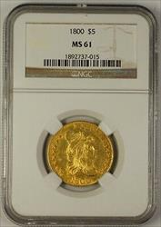 1800 Half Eagle $5 Early US   NGC Beautiful UNC Example