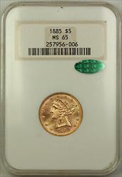 1885 $5  Liberty Half Eagle NGC CAC Gem BU