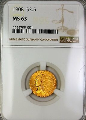 1908 $2.50  Indian Head Quarter Eagle  NGC (Better )