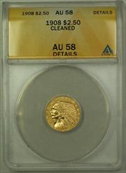 1908 $2.50 Indian Quarter Eagle   ANACS Details Cleaned