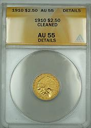 1910 $2.50 Indian Quarter Eagle   ANACS Details Cleaned