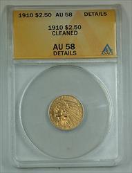 1910 $2.50 Indian Quarter Eagle   ANACS Details Cleaned