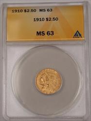 1910 US Indian Head Quarter Eagle $2.50   ANACS