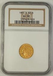 1911 D US Indian Quarter Eagle   $2.50 NGC **Scarce Date**