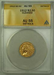 1912 $2.50 Indian Quarter Eagle   ANACS Details Cleaned