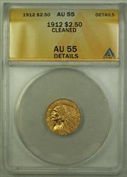 1912 $2.50 Indian Quarter Eagle   ANACS Details Cleaned