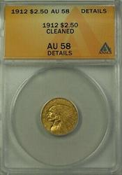 1912 Indian Head $2.50   ANACS Details Cleaned (Better )