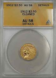 1912 Indian Head Quarter Eagle  $2.50  ANACS Cleaned Details