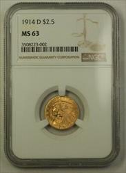 1914 D US Indian Head Quarter Eagle   NGC (Better) Blazing Luster