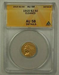 1915 US Indian Head  Quarter Eagle  $2.50 ANACS Details Cleaned
