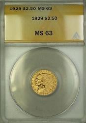 1929 $2.50 Indian Quarter Eagle   ANACS Choice BU