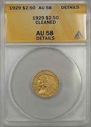 1929 Indian Head Quarter Eagle  $2.50  ANACS Cleaned Details +