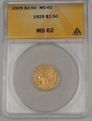 1929 US Indian Head Quarter Eagle $2.50   ANACS A