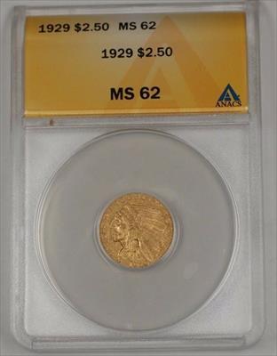 1929 US Indian Head Quarter Eagle $2.50   ANACS B
