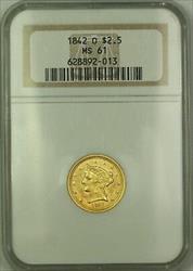 1842 O $2.50 Liberty Quarter Eagle   NGC *Rare* KRC