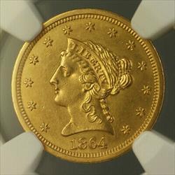 1864 Liberty  Quarter Eagle $2.50  NGC UNC Details Civil War Era RRR
