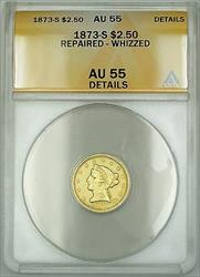 1873 S $2.50 Liberty Quarter Eagle   ANACS Details Rep Whizzed GBr