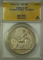 1900-A French Indo-China Silver 1P Coin ANACS  Details Cleaned