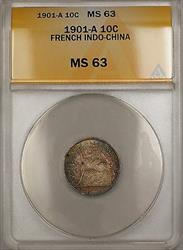1901-A French Indo-China 10c Silver Coin ANACS  Nicely Toned *Scarce* GBr