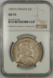 1907-H Straits Settlements $1 Dollar Silver Coin NGC