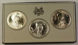 1984 P-D-S US Mint Olympic Commem 3 Coin Silver Dollar UNC Set as Issued W/ COA