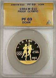 1984-W Proof Olympic Commemorative Gold Coin $10 ANACS  Proof DCAM