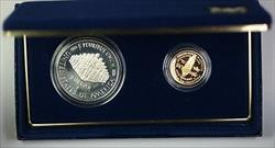1987 U.S. Mint Constitution $1 Silver + $5 Gold Proof Coin Set w/Box & COA JAH
