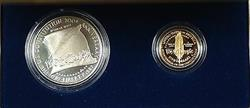 1987 US Mint Constitution 2 Coin Gold & Silver Commem Proof Set as Issued DGH