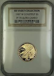 1987-W Proof $5 Constitution Gold Coin NGC  Ultra Cameo *PERFECT GEM* (B)