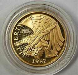 1987-W Proof $5 Constitution Gold Coin with Original Mint Capsule