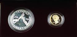 1988 US Mint Olympic Commemorative 2 Coin Silver & Gold Proof Set as Issued DGH