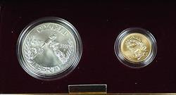 1988 US Mint Olympic Commemorative 2 Coin Silver & Gold UNC Set as Issued DGH