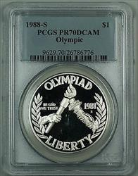 1988-S Olympic Silver Dollar Commemorative PCGS  DCAM Perfect Gem Coin