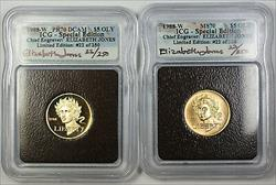 1988-W Proof & UNC $5 Olympic Gold Commem Autographed 2 Coin Set ICG  PF-70