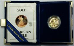 1990-P Proof 1/4 Ounce Gold Eagle $2.50 Coin in OGP with COA