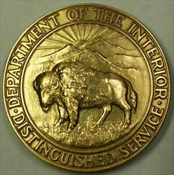 14K Solid Gold Department of The Interior Distinguished Service Award 1958 Medal