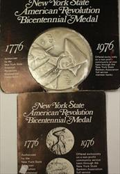 1776- 1976 New York State Official Bicentennial Antique Bronze Large UNC Medal