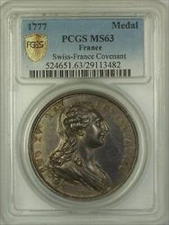 1777 France Swiss-France Covenant Silver Medal PCGS  *EXTREMELY RARE*