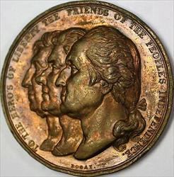 1834 Heores of Liberty America Bronze High Relief Medal Bogat Sculptor