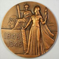1848- 1948 French Bronze Large High Relief Medal Abolition of Slavery Suffrage
