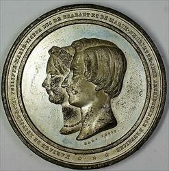 1853 Belgium Large Wedding King Leopold and Queen Marie Medal Pewter