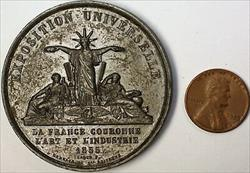 1855 University Exposition French Bronze Liberty Large High Relief Medal