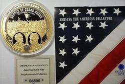 1864 Civil War Bronze Proof Large Medal Battle of Cedar Creek with COA